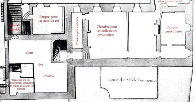 Plan du premier étage de la prison. (Source : Claude Masse, Recueil des plans de La Rochelle, La Rochelle, éditions Rupella, 1979, feuille 62a)