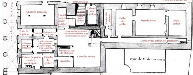 Plan du rez-de-chaussée de la prison. (Source : Claude Masse, Recueil des plans de La Rochelle, La Rochelle, éditions Rupella, 1979, feuille 62b)