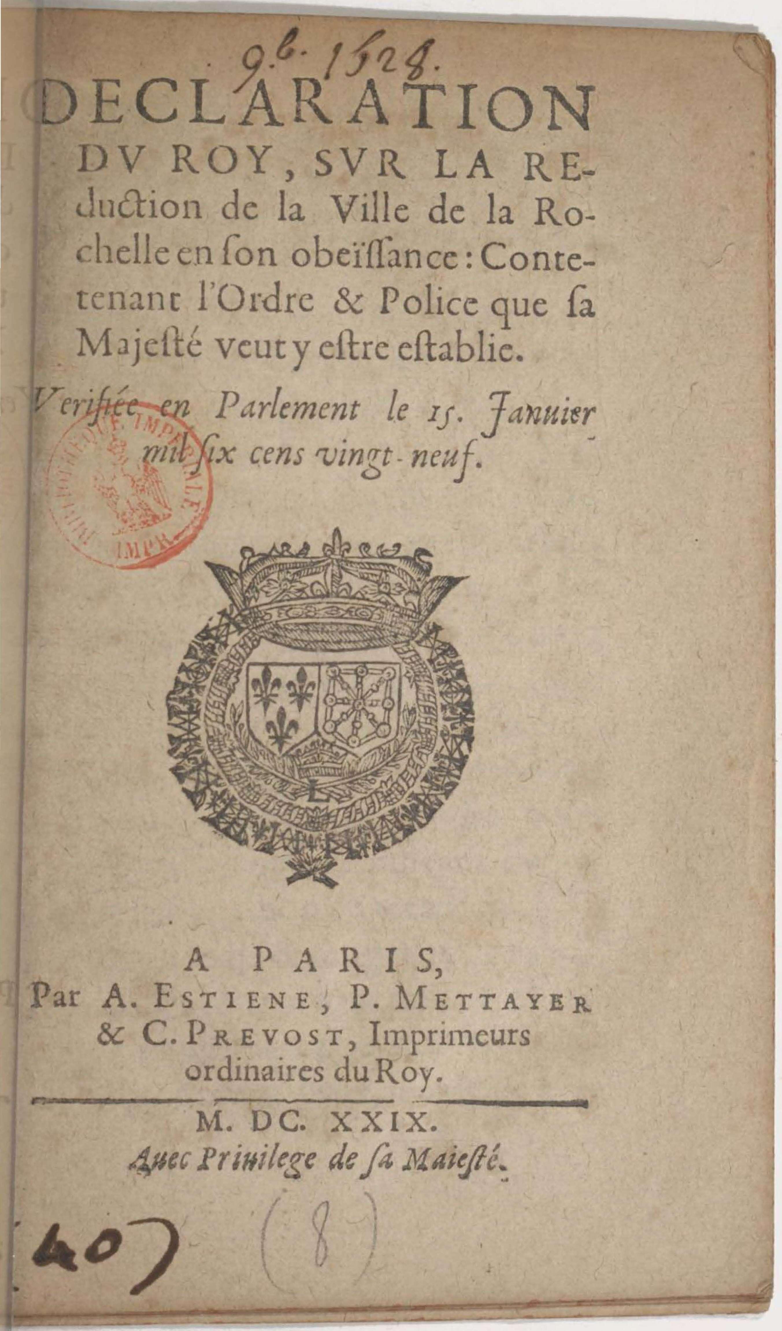 153 – La déclaration du roi après la rébellion et le siège de La Rochelle  en 1628 – Le blogue de Guy Perron