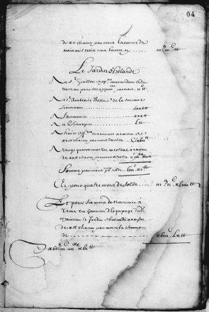 État de la dépense du 22 avril 1663